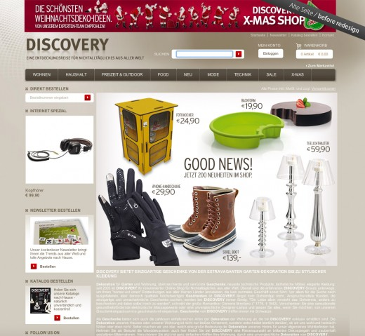 DISCOVERY - Website vor dem Redesign